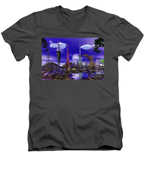 The Palace Of Prax Men's V-Neck T-Shirt by Mark Blauhoefer