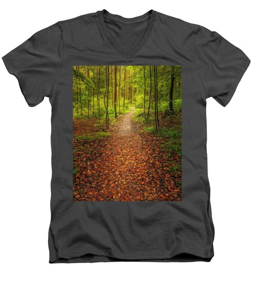 Men's V-Neck T-Shirt featuring the photograph The Path by Maciej Markiewicz