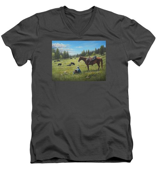 Men's V-Neck T-Shirt featuring the painting The Perfect Day by Kim Lockman