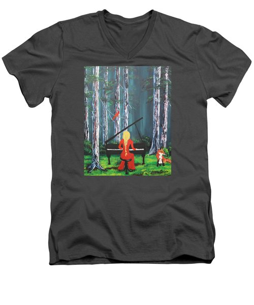 The Pianist In The Woods Men's V-Neck T-Shirt by Patricia Olson
