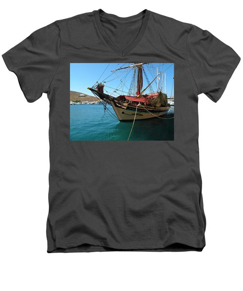 The Pirate Ship  Men's V-Neck T-Shirt by Micki Findlay