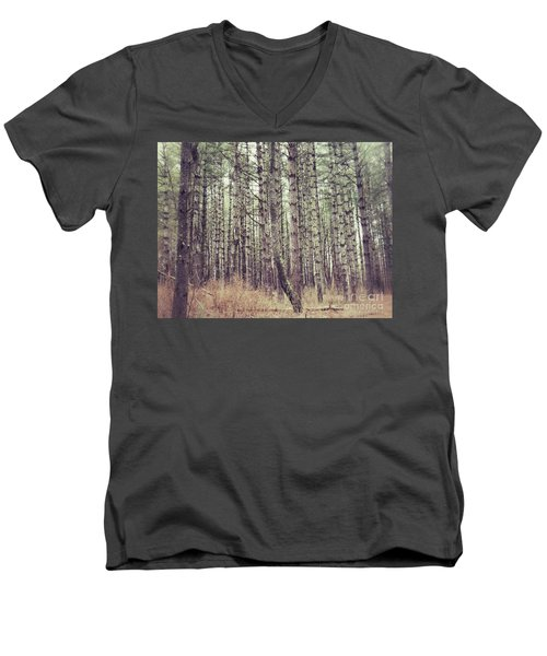 Men's V-Neck T-Shirt featuring the photograph The Preaching Of The Pines by Kerri Farley