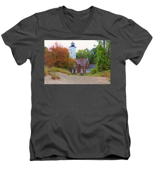 The Presque Isle Lighthouse Men's V-Neck T-Shirt