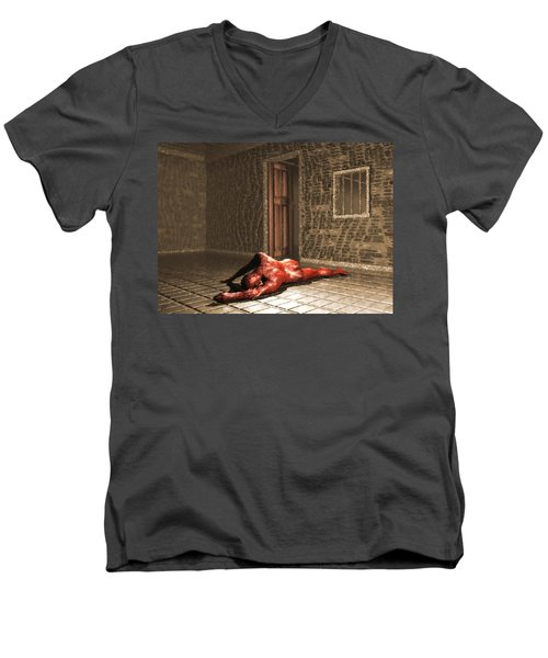 Men's V-Neck T-Shirt featuring the digital art The Prisoner by John Alexander
