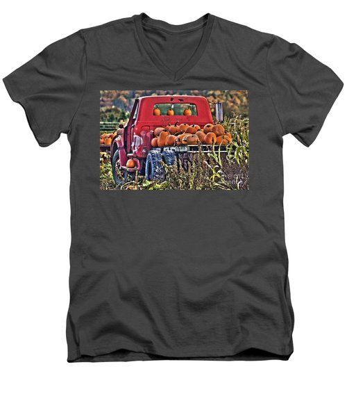 The Pumpkin Hauler Men's V-Neck T-Shirt by Sonya Lang