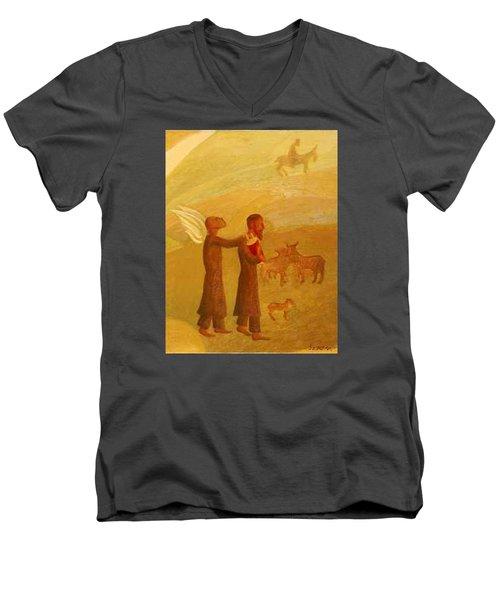 The Rabbi Leading The Angel Men's V-Neck T-Shirt