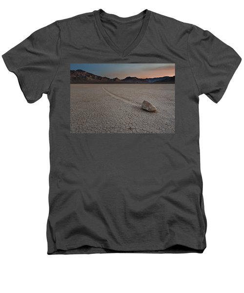 The Racetrack At Death Valley National Park Men's V-Neck T-Shirt by Eduard Moldoveanu