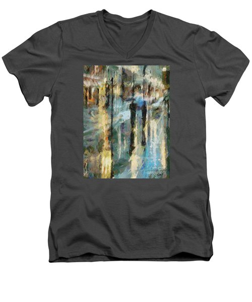 Men's V-Neck T-Shirt featuring the painting The Rain In Paris by Dragica  Micki Fortuna