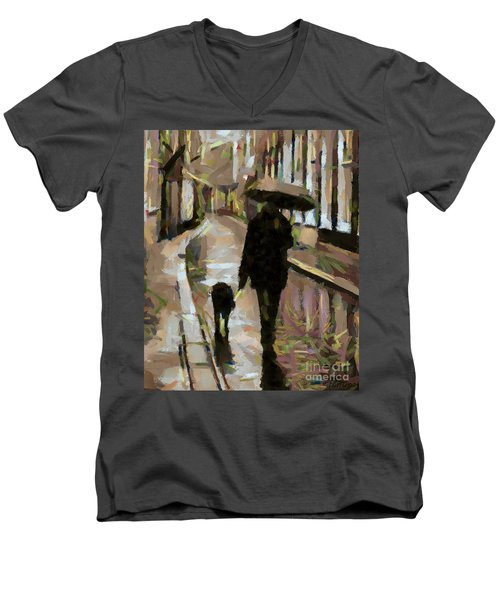 The Rainy Walk Men's V-Neck T-Shirt
