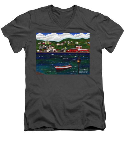 The Red And White Fishing Boat Carenage Grenada Men's V-Neck T-Shirt by Laura Forde