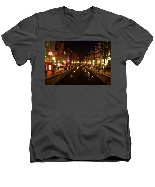 The Red Lights Of Amsterdam Men's V-Neck T-Shirt
