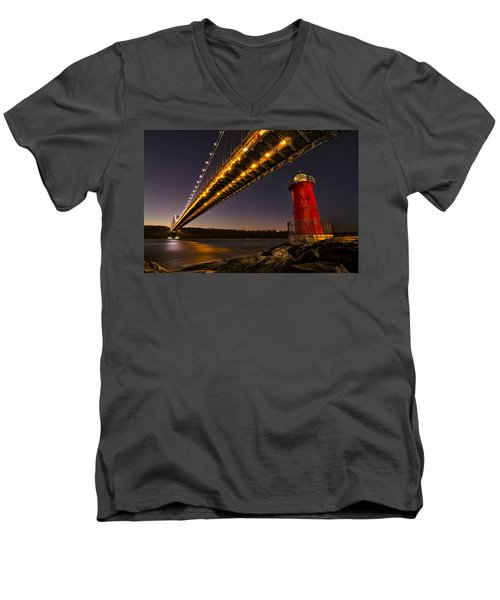 The Red Little Lighthouse Men's V-Neck T-Shirt by Eduard Moldoveanu