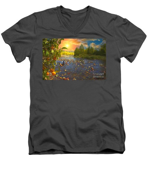 The Riches Of Life Men's V-Neck T-Shirt by Liane Wright
