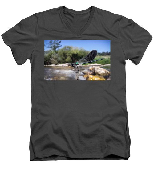 Men's V-Neck T-Shirt featuring the photograph The River Dragonfly by Stwayne Keubrick