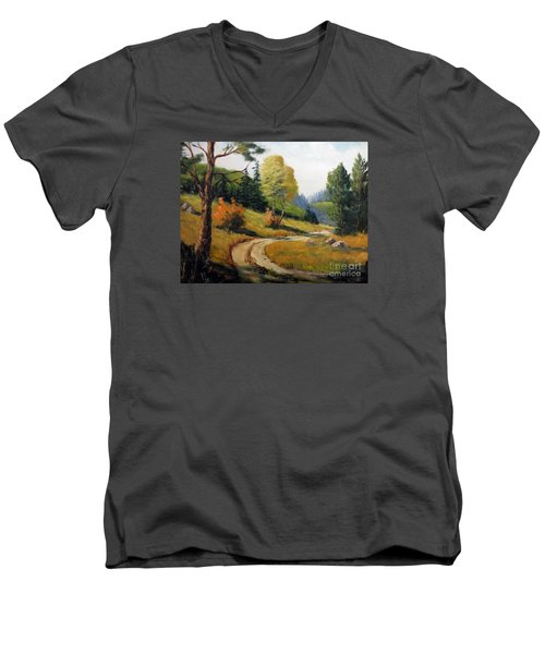 Men's V-Neck T-Shirt featuring the painting The Road Not Taken by Lee Piper