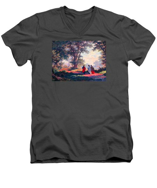 The Road To Emmaus Men's V-Neck T-Shirt by Tina M Wenger