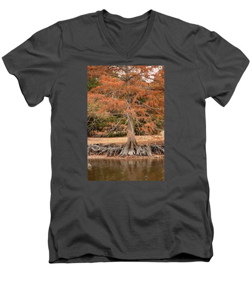 Men's V-Neck T-Shirt featuring the photograph The Root Of It All by Rebecca Davis