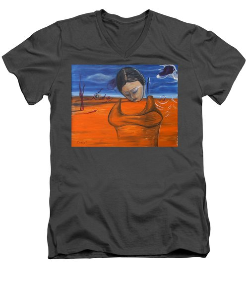 Men's V-Neck T-Shirt featuring the painting The Saharan Insomniac by Christophe Ennis
