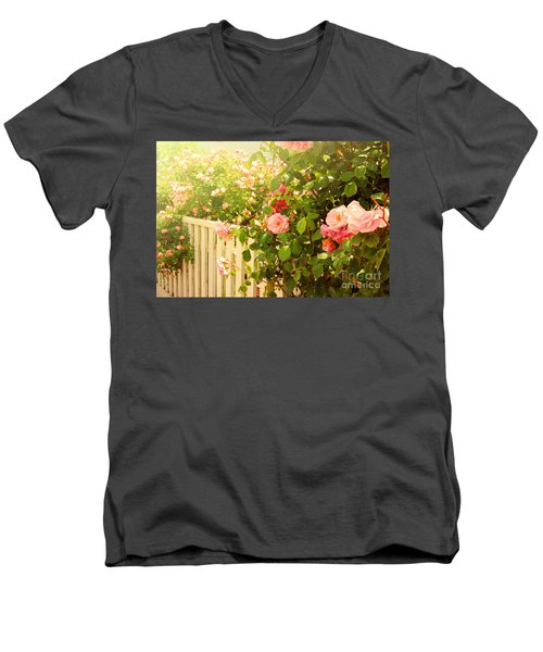 The Scent Of Roses And A White Fence Men's V-Neck T-Shirt by Sabine Jacobs