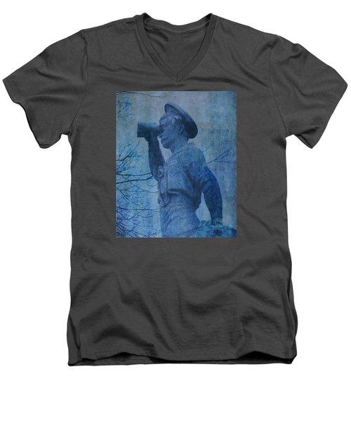 The Seaman In Blue Men's V-Neck T-Shirt by Lesa Fine