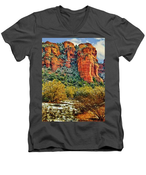 Men's V-Neck T-Shirt featuring the photograph The Secret Mountain Wilderness In Sedona Back Country by Bob and Nadine Johnston