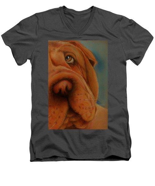 The Shar-pei  Men's V-Neck T-Shirt by Jean Cormier