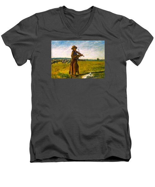 Men's V-Neck T-Shirt featuring the painting The Shepherd by Henryk Gorecki