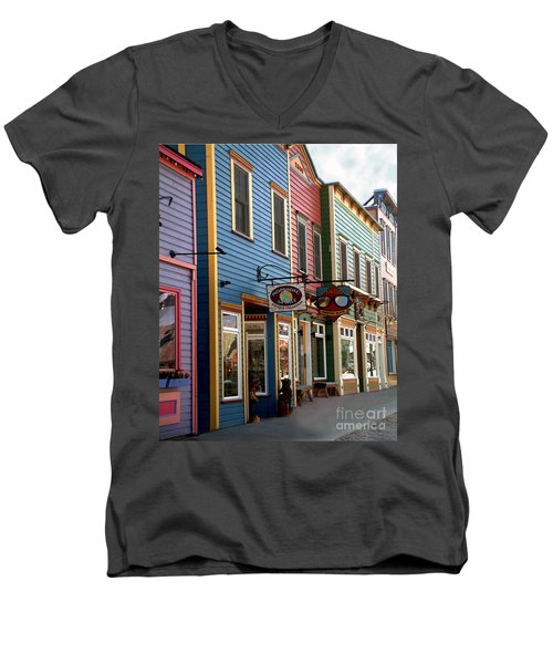 Men's V-Neck T-Shirt featuring the photograph The Shops In Crested Butte by RC DeWinter