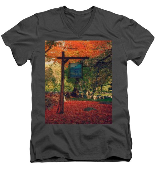 Men's V-Neck T-Shirt featuring the photograph The Sign Of Fall Colors by Jeff Folger