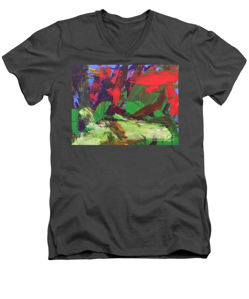 Men's V-Neck T-Shirt featuring the painting The Sky by Donald J Ryker III