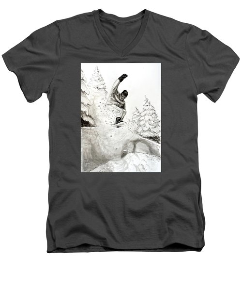 The Snowboarder Men's V-Neck T-Shirt