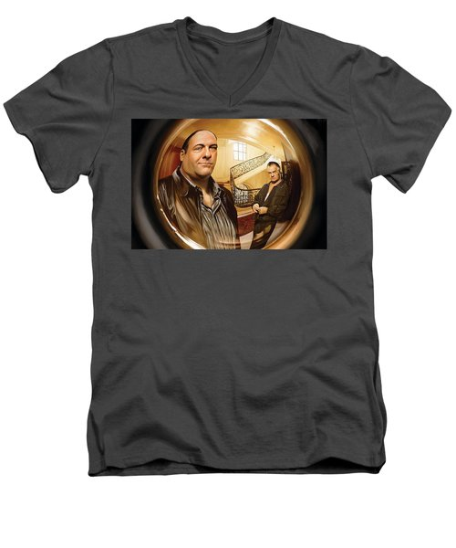 Men's V-Neck T-Shirt featuring the painting The Sopranos  Artwork 1 by Sheraz A
