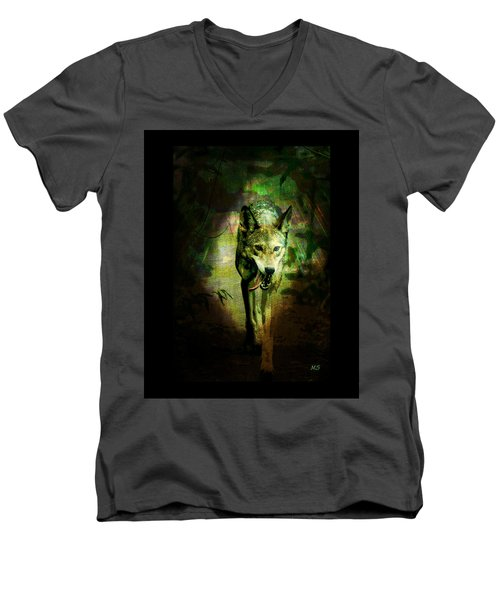 The Spirit Of The Wolf Men's V-Neck T-Shirt by Absinthe Art By Michelle LeAnn Scott