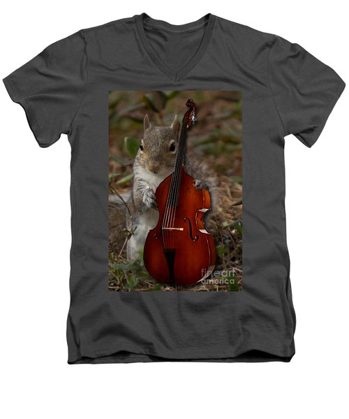 The Squirrel And His Double Bass Men's V-Neck T-Shirt