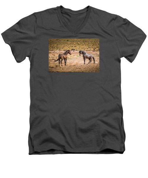 Men's V-Neck T-Shirt featuring the photograph The Standoff  by Janis Knight