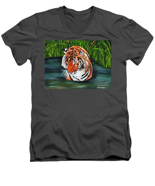 Men's V-Neck T-Shirt featuring the painting The Stare by Laura Forde