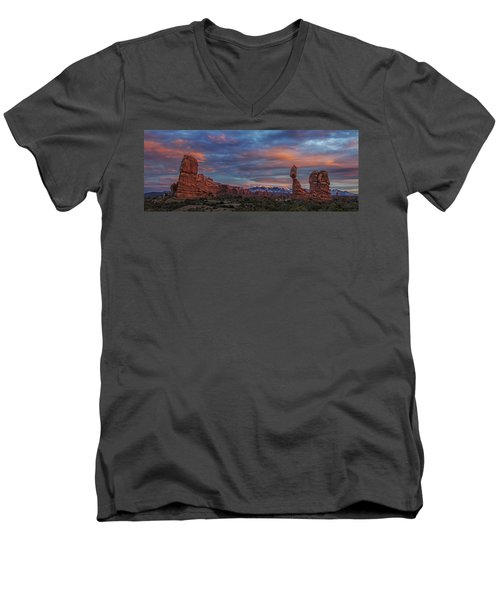 The Sun Sets At Balanced Rock Men's V-Neck T-Shirt by Roman Kurywczak