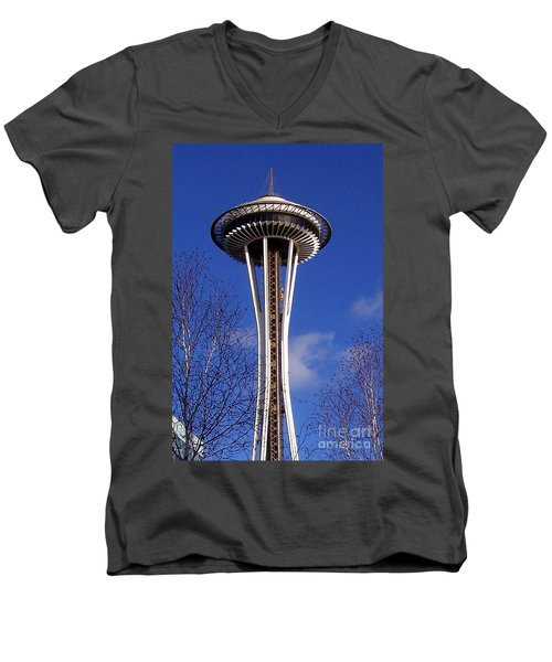 Men's V-Neck T-Shirt featuring the photograph The Symbol Of Seattle by Kathy  White