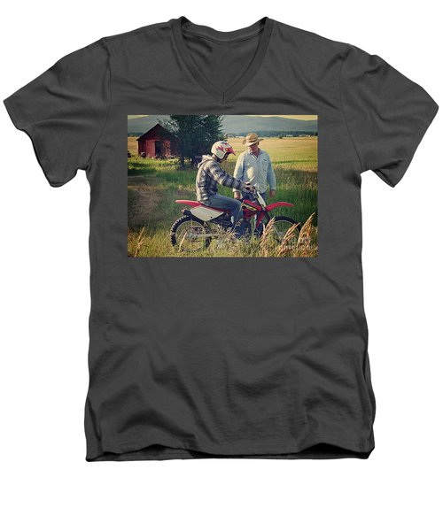 Men's V-Neck T-Shirt featuring the photograph The Teacher by Meghan at FireBonnet Art