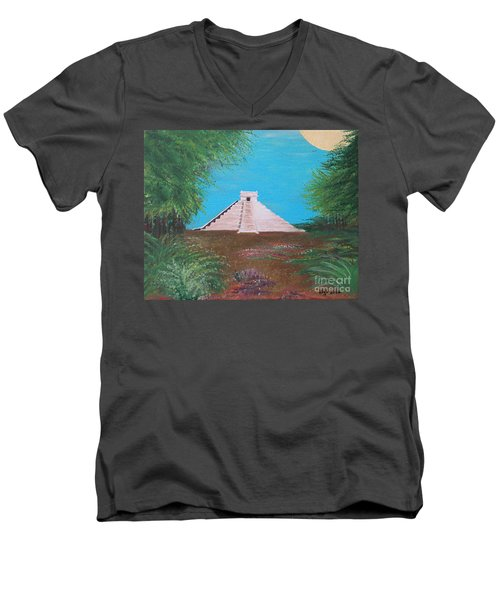 Men's V-Neck T-Shirt featuring the painting The Temple Of Kukulcan by Alys Caviness-Gober