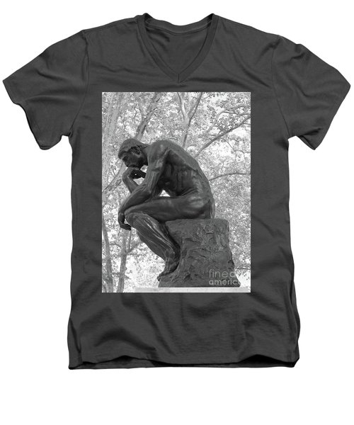 The Thinker - Philadelphia Bw Men's V-Neck T-Shirt by Ann Horn