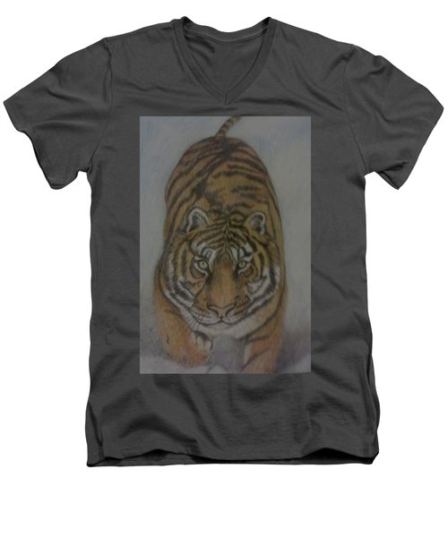 The Tiger Men's V-Neck T-Shirt by Christy Saunders Church