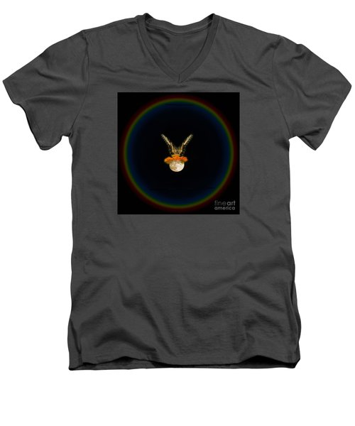 Men's V-Neck T-Shirt featuring the photograph The Tiger Has Landed by Donna Brown