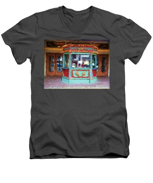 Men's V-Neck T-Shirt featuring the photograph The Tivoli Theatre by Kelly Awad