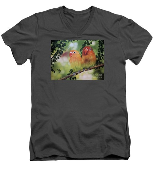 Men's V-Neck T-Shirt featuring the painting The Tweetest Love by Dianna Lewis