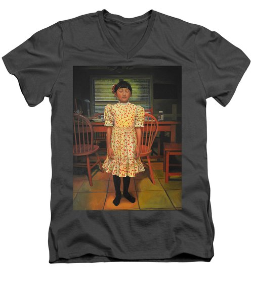 Men's V-Neck T-Shirt featuring the painting The Valentine Dress by Thu Nguyen