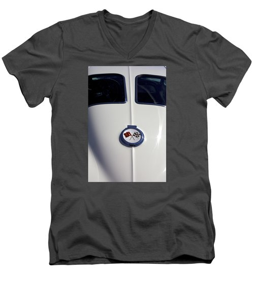 Men's V-Neck T-Shirt featuring the photograph The White Vette - Vintage Corvette Stingray Emblem by Jane Eleanor Nicholas