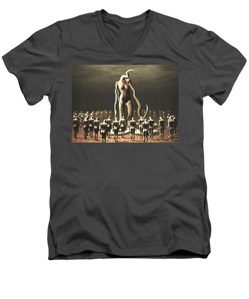 Men's V-Neck T-Shirt featuring the digital art The Vile Goddess by John Alexander