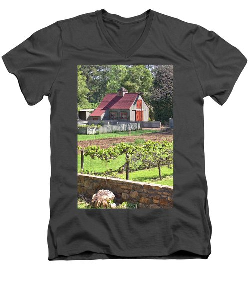 The Vineyard Barn Men's V-Neck T-Shirt by Gordon Elwell