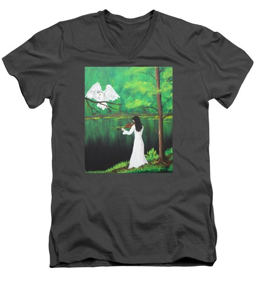 The Violinist By The River   Men's V-Neck T-Shirt by Patricia Olson